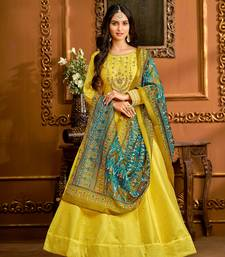 Yellow hand embroidery taffeta salwar