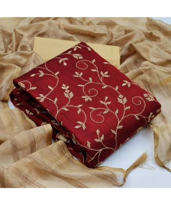 maroon cotton unstitched embroidered   top & bottom with dupatta