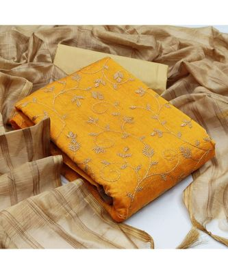 mustard cotton unstitched embroidered   top & bottom with dupatta