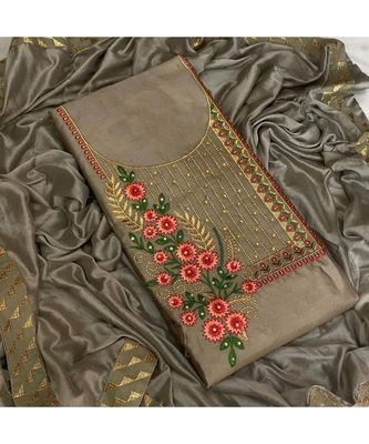 grey cotton unstitched embroidered   top & bottom with dupatta