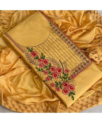 yellow cotton unstitched embroidered   top & bottom with dupatta