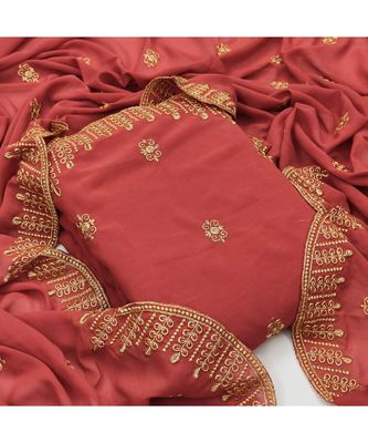 peach georgette unstitched embroidered   top & bottom with dupatta