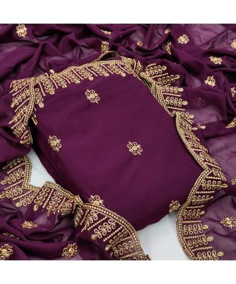 wine georgette unstitched embroidered   top & bottom with dupatta