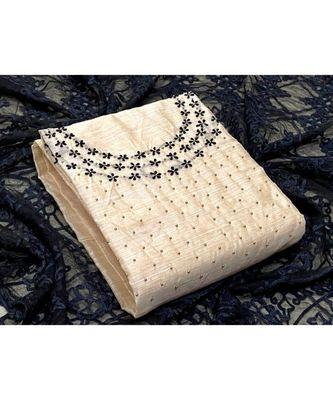 cream silk unstitched embroidered   top & bottom with dupatta