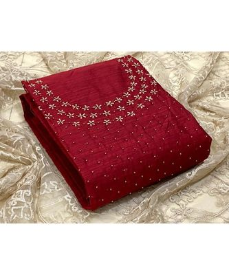 maroon silk unstitched embroidered   top & bottom with dupatta