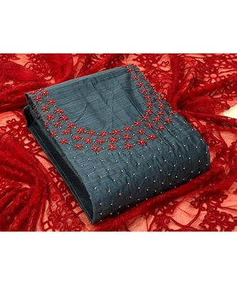 grey silk unstitched embroidered   top & bottom with dupatta