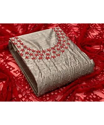 light-grey silk unstitched embroidered   top & bottom with dupatta