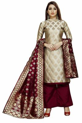 Beige Jacquard Banarasi Silk Un Stitched  top & bottom with dupatta