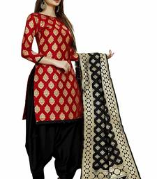 Red Jacquard Banarasi Silk Un Stitched  top & bottom with dupatta