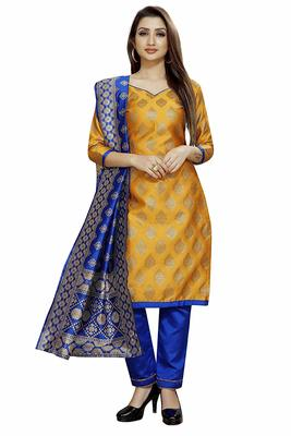 Yellow Jacquard Banarasi Silk Un Stitched  top & bottom with dupatta