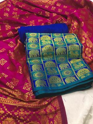 Blue Jacquard Banarasi Silk Un Stitched  top & bottom with dupatta