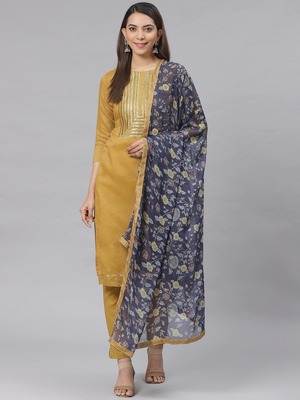 Yellow Embroidered Cotton Unstitched Salwar- Kameez With Dupatta