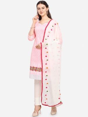 Pink Embroidered Cotton Unstitched Salwar- Kameez With Dupatta