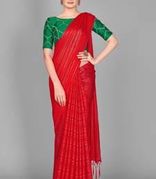 Red plain satin saree with blouse