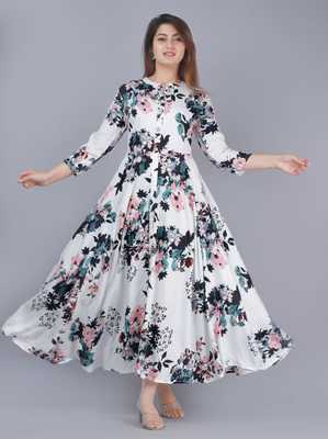 Attractive Woman Rayon Printed  Gown