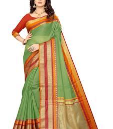 Green Manipuri cotton saree with blouse piece