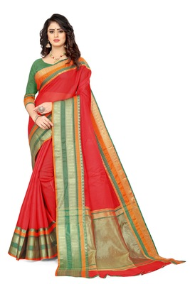 Red Manipuri cotton saree with blouse piece
