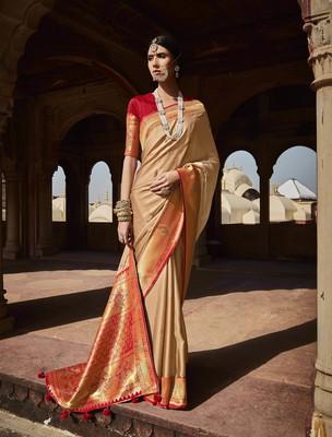 Chiku woven pure silk saree with blouse