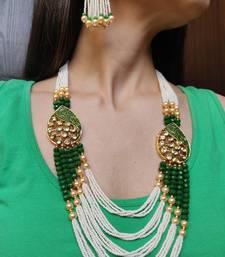 Green Kundan Tassle Necklace Set