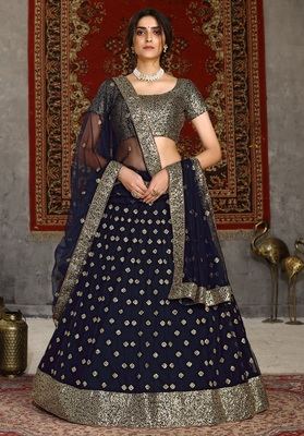 Navy blue sequins embroidered net semi-stitched lehenga for wedding