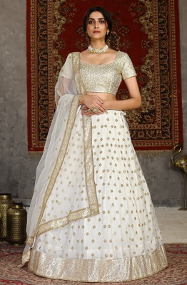 White sequins embroidered net semi-stitched lehenga for wedding