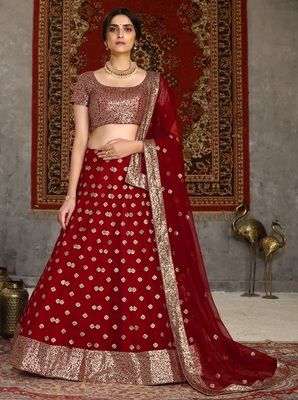 Red sequins embroidered net semi-stitched lehenga for wedding