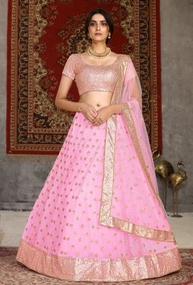 Pink sequins embroidered net semi stitched lehenga