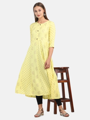 YELLOW PRINTED DRESS