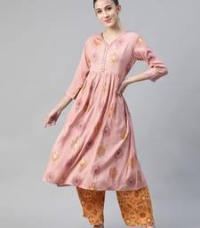 Peach printed rayon cotton-kurtis with Palazzos