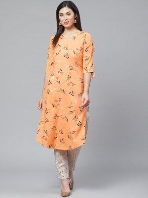 Orange printed rayon cotton-kurtis With Palazzos