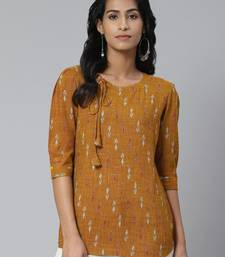 Brown printed cotton cotton-tops