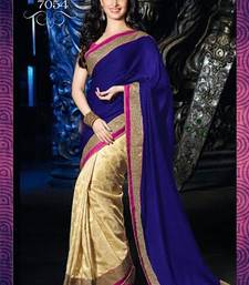 Buy Blue  and  Pink  and  Beige embroidered velvet saree with blouse bollywood-saree online
