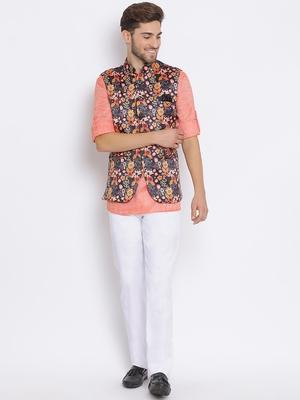 multicolor 3Pc Kurta Waistcoat Trouser