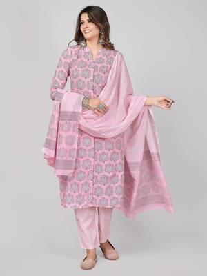 Vbuyz Women's Baby Pink Hand Work Cotton Straight Stitched Kurta Pant With Dupatta
