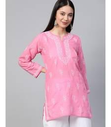 Cotton pink embroidered chikankari quarter sleeve stitched   short kurti