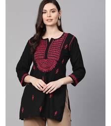 Cotton black embroidered chikankari quarter sleeve stitched   short kurti