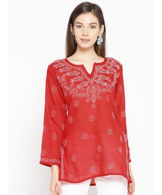 Cotton red embroidered chikankari quarter sleeve stitched   short kurti
