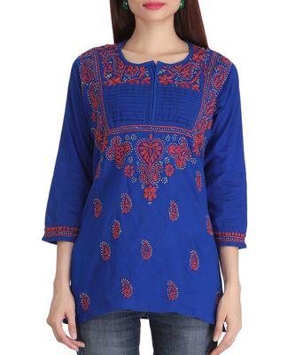 Cotton blue embroidered chikankari quarter sleeve stitched   short kurti