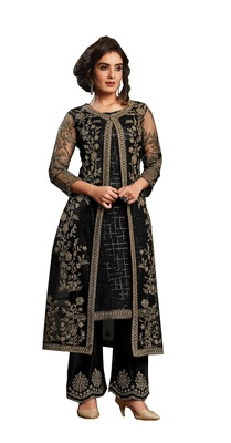 Black Colour Embroidered Work Net Salwar Suit