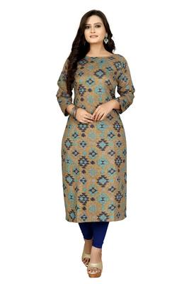 Beige printed cotton kurti