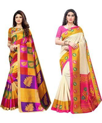 multicolor art silk printed combo saree & blouse