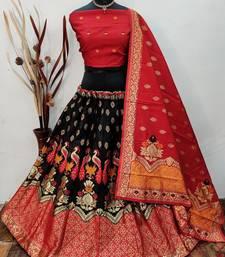 Black Banarasi Brocade silk Lehenga Choli with pure zari work Semi Stitched