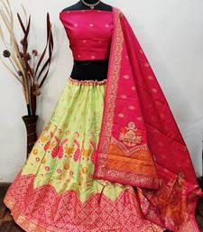 Light Green Banarasi Brocade silk Lehenga Choli with pure zari work Semi Stitched