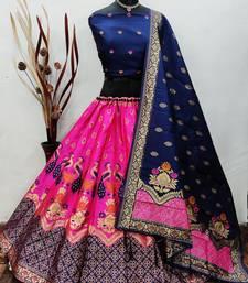 Pink Banarasi Brocade silk Lehenga Choli with pure zari work Semi Stitched