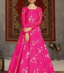 Deep pink metallic foilage Taffeta Evening Long Gown