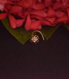 Meenakari Sizzling graceful designer gold diamond nose ring or nose pin
