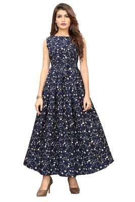 Navy-blue floral printed Gown
