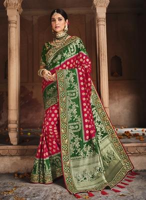 Red embroidered banarasi silk saree with blouse
