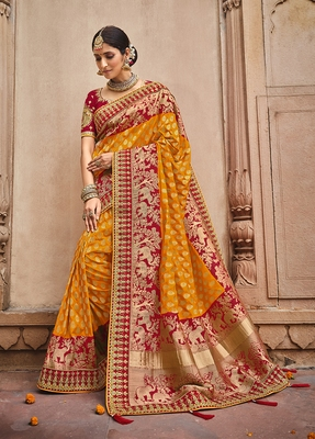 Orange embroidered banarasi silk saree with blouse
