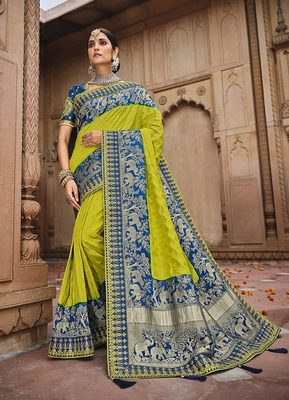 parrot green embroidered banarasi silk saree with blouse